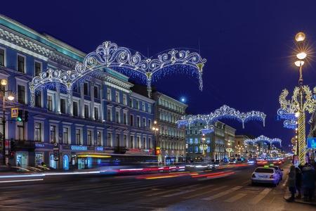 ST. PETERSBURG, RUSSIA - DECEMBER 21, 2016: Nevsky Prospect at night Christmas illumination. It is the main street in Saint Petersburg
