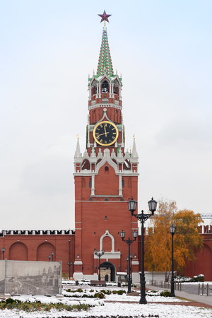 MOSCOW, RUSSIA - NOVEMBER 02, 2016: The Spasskaya Tower is the main tower with a through passage on the eastern wall of the Moscow Kremlin, which overlooks the Red Square. Editorial