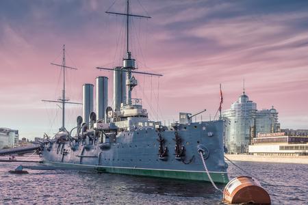 battleship: SAINT PETERSBURG, RUSSIA � MAY 23, 2017: Russian cruiser Aurora - Russian protected cruiser, now it is museum ship