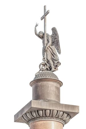 Sculpture of angel on Alexander Column at Palace Square in Saint Petersburg, Isolated on white background Stock Photo