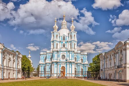 bartolomeo rastrelli: Saint Petersburg, Russia - June 16, 2017: Smolny Cathedral - Orthodox church of the Smolny convent, architect Francesco Bartolomeo Rastrelli