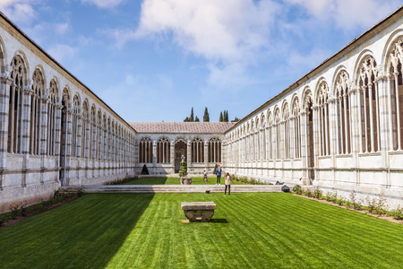Pisa, Italy - April 07, 2017: Campo Santo or Camposanto Vecchio (old cemetery) is a historical edifice at the Pisa Cathedral Square