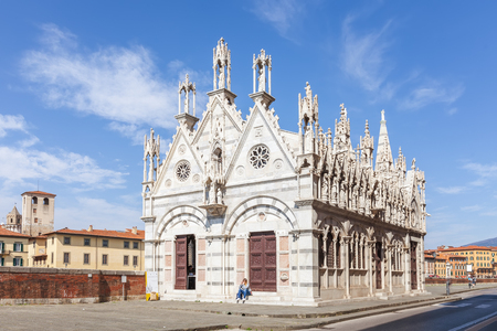 Pisa, Italy - April 07, 2017: The Church of Santa Maria della Spina is one of the most outstanding Gothic edifices of Europe Editorial