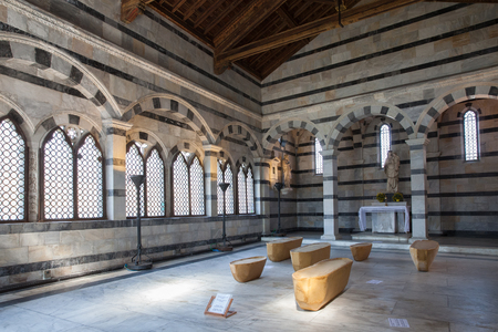 Pisa, Italy - April 07, 2017: Interior of the Santa Maria della Spina. The church is one of the most outstanding Gothic edifices of Europe Editorial