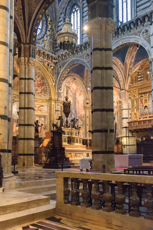 Siena, Italy – April 04, 2017: Interior o Siena Cathedral (Duomo di Siena), medieval church