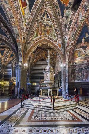 Siena, Italy April 04, 2017: Interior of the Siena Baptistery