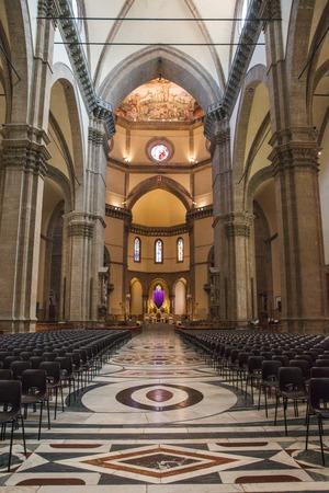 Florence, Italy � April 09, 2017: Interior of the Cathedral Santa Maria del Fiore (Duomo)