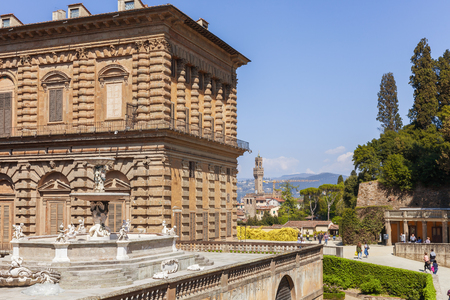 Florence, Italy  April 08, 2017: Palazzo Pitti and the fountain, view of Florence from the Boboli Gardens Editorial