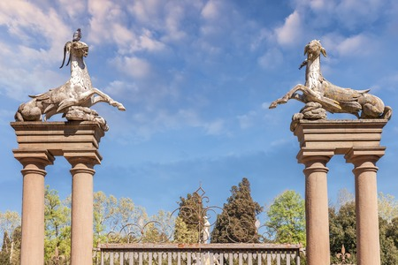 Florence, Italy April 08, 2017: Gate with sculptures of animals in the Boboli Gardens Editorial