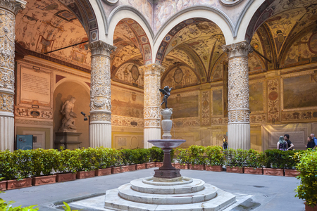 Florence, Italy – April 03: Inner courtyard of Palazzo Vecchio -  town hall of Florence