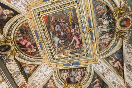 Florence, Italy – April 03: Ceiling of one of the halls of Palazzo Vecchio - town hall of Florence