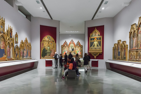 Florence, Italy – April 06, 2017: Interior of  Art Gallery of the Academy (Accademia di belle arti di Firenze)