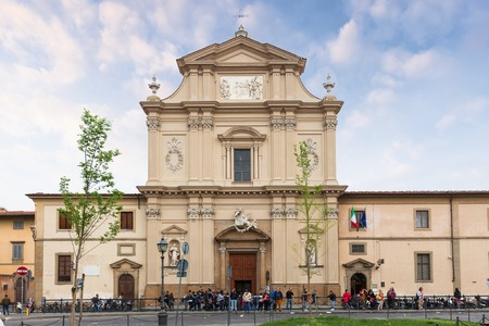 Florence, Italy – April 06, 2017: Facade of church San Marco, it is a part of of a religious complex, comprises a church and a convent
