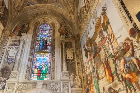 Florence, Italy – April 02, 2017: Basilica of Santa Maria Novella,  Filippino Strozzi Chapel with the series of frescoes by Filippino Lippi