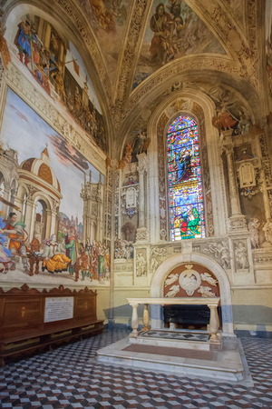 Florence, Italy – April 02, 2017: Basilica of Santa Maria Novella,  Filippino Strozzi Chapel with the series of frescoes by Filippino Lippi Editorial