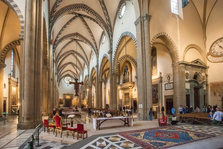 Florence, Italy – April 02, 2017: Interior of Basilica of Santa Maria Novella, it is the first great church in Florence