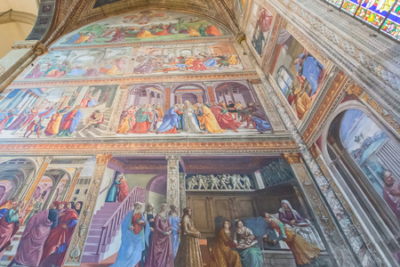 Florence, Italy – April 02, 2017: Interior of Basilica of Santa Maria Novella, it is the first great church in Florence Editoriali