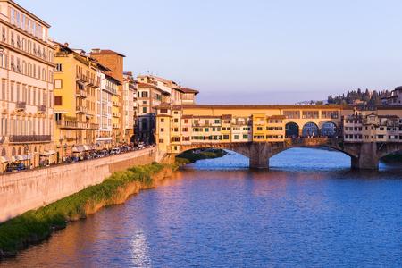 Florence, Italy � April 08, 2017: Bridge Ponte Vecchio and the Arno Embankment