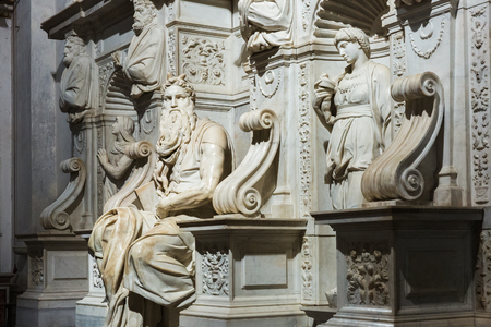 Rome, Italy – March 21, 2018: Michelangelos Moses, Statue in the basilica San Pietro in Vincoli (Saint Peter in Chains)