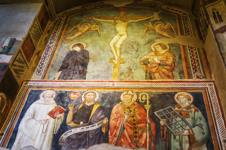 Orvieto, Italy – March 24, 2018: Interior of church San Giovenale, it contains frescos and artefacts from the 12th and 13th centurie