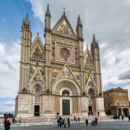 Orvieto, Italy – March 24, 2018:  Facade of the Orvieto Cathedral Editorial