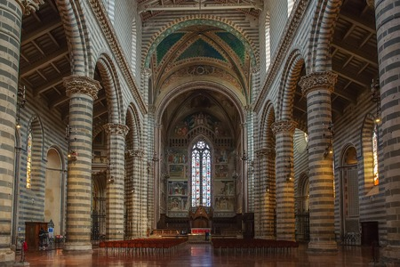Orvieto, Italy – March 24, 2018:  Interior of Orvieto Cathedral, 14th-century Roman Catholic cathedral Stock Photo - 124584118
