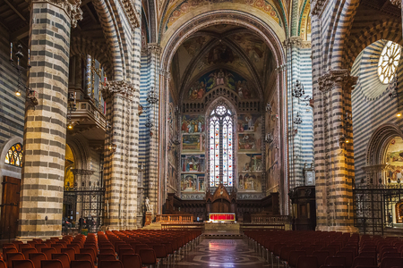 Orvieto, Italy – March 24, 2018:  Interior of Orvieto Cathedral, 14th-century Roman Catholic cathedral