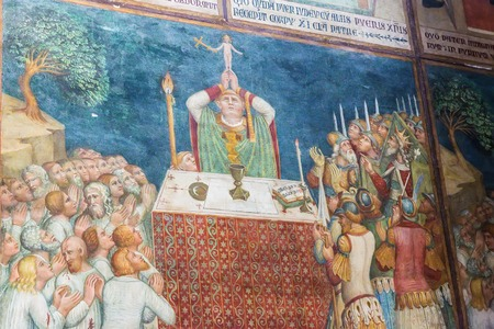 Orvieto, Italy – March 24, 2018:  Interior of Orvieto Cathedral, 14th-century Roman Catholic cathedral Stock Photo - 124584131