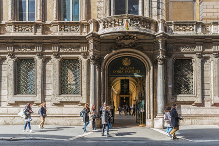 Rome, Italy – March 25, 2018: The Doria Pamphilj Gallery is a large art collection housed in the Palazzo Doria Pamphilj