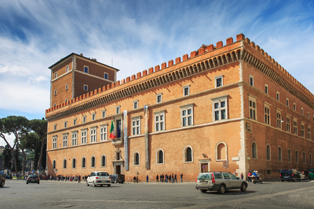 Rome, Italy – March 25, 2018: The Palazzo Venezia, formerly Palace of St. Mark, is a palace in central Rome