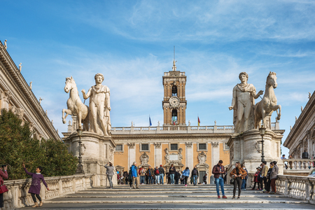 Rome, Italy – March 25, 2018: Tourists visit Piazza del Campidoglio, Capitol Hill - one of the hills of ancient Rome