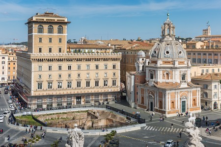 Rome, Italy – March 25, 2018:  Piazza Venezia, view from Vittorio Emanuele II Monument Editorial