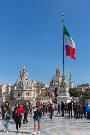 Rome, Italy – March 25, 2018:  Piazza Venezia, view Vittorio Emanuele II Monument