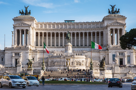 Rome, Italy – March 25, 2018: Vittorio Emanuele II Monument also known as the Altare della Patria  is a monument built in honor of Victor Emmanuel II