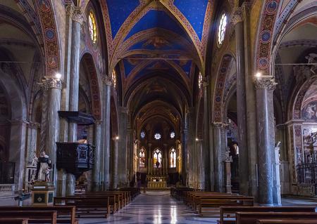 Rome, Italy – March 26, 2018: Interior of Basilica of Saint  Mary above Minerva (Santa Maria sopra Minerva) Editorial
