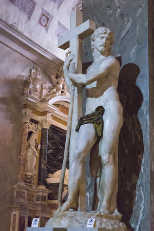 Rome, Italy – March 26, 2018: Michelangelo's Christ the Redeemer inside of Basilica of Santa Maria sopra Minerva