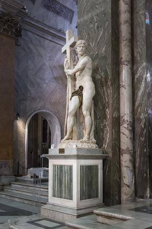 Rome, Italy – March 26, 2018: Michelangelos Christ the Redeemer inside of Basilica of Santa Maria sopra Minerva