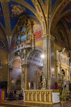 Rome, Italy – March 26, 2018: Interior of Basilica of Saint  Mary above Minerva (Santa Maria sopra Minerva)