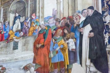 Rome, Italy – March 26, 2018: Basilica of Santa Maria sopra Minerva, Carafa Chapel with frescoes by Filippino Lippi 新聞圖片