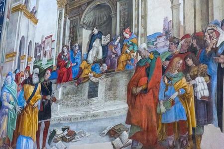 Rome, Italy – March 26, 2018: Basilica of Santa Maria sopra Minerva, Carafa Chapel with frescoes by Filippino Lippi