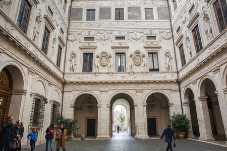 Rome, Italy – March 26, 2018: Palazzo Spada, palace accommodates a large art collection, the Galleria Spada