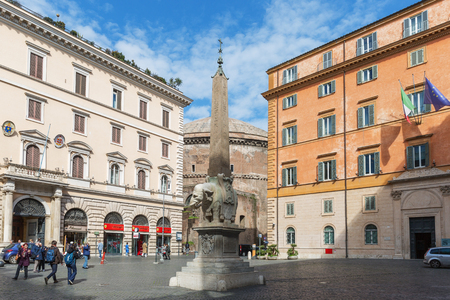 Rome, Italy – March 26, 2018: The Elephant Sculpture (designed by Lorenzo Bernini) and the Egyptian obelisk in Piazza della Minerva next to the Pantheon