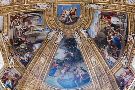 Rome, Italy – March 26, 2018: Ceiling inside baroque Church of St. Andrew in Rome