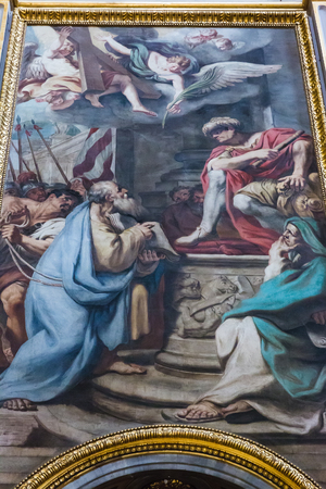 Rome, Italy – March 26, 2018: Fresco inside baroque Church of St. Andrew Editorial