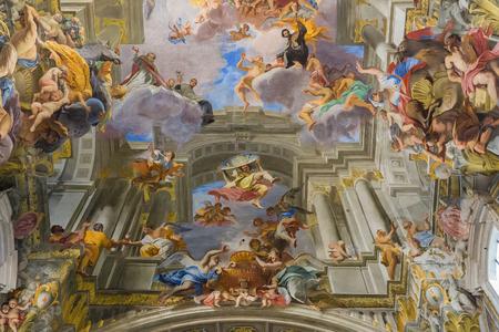 Rome, Italy – March 26, 2018: Ceiling in church of St. Ignatius of Loyola at Campus Martius (Sant'Ignazio)