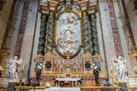 Rome, Italy – March 26, 2018: Interior of church of St. Ignatius of Loyola at Campus Martius (Sant'Ignazio)
