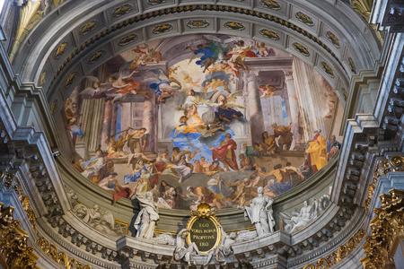 Rome, Italy – March 26, 2018: Interior of church of St. Ignatius of Loyola at Campus Martius (SantIgnazio) 新聞圖片
