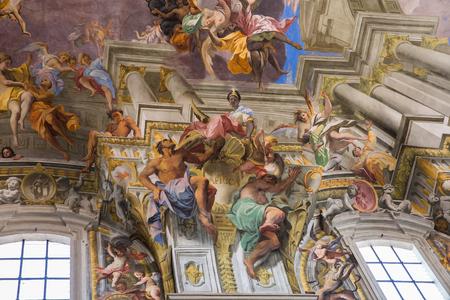 Rome, Italy – March 26, 2018: Ceiling in church of St. Ignatius of Loyola at Campus Martius (SantIgnazio)