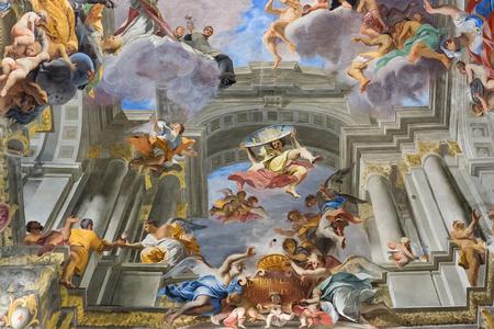 Rome, Italy – March 26, 2018: Ceiling in church of St. Ignatius of Loyola at Campus Martius (SantIgnazio) 新聞圖片