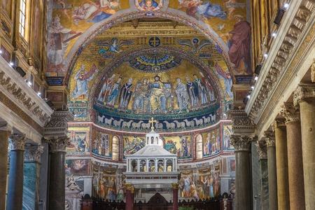 Rome, Italy – March 27, 2018: Interior of Basilica of Santa Maria in Trastevere, 12th and 13th-century mosaics in the apse